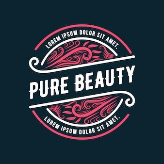 Insigne de logo féminin et floral rose dessiné à la main adapté aux cheveux et à la beauté de la peau du salon de spa