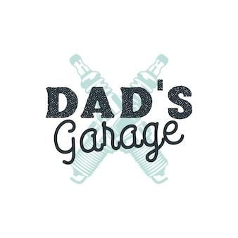 Insigne de logo de garage de papa avec des étincelles de prise. emblème isolé.