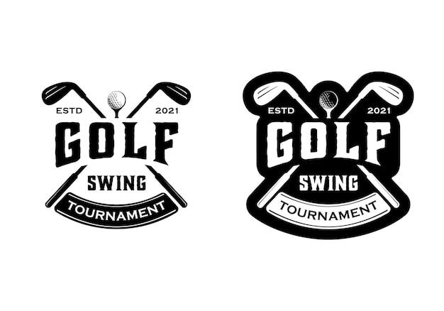 Insigne de logo de golf hipster vintage, modèle d'inspiration de conception d'emblème