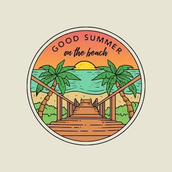 Insigne de logo monoline plage d'été