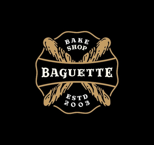 Insigne de logo de pain baguette au design vintage.