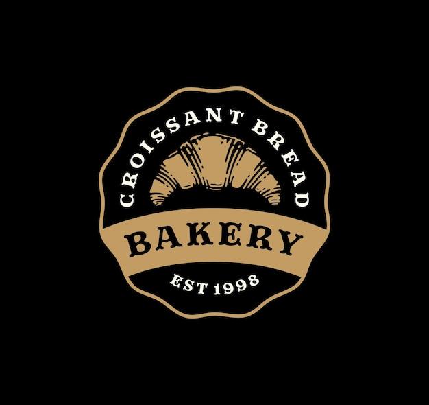 Insigne de logo de pain croissant au design vintage.