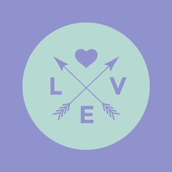 Insigne de logo pour le projet de conception créative. emblème de hipster avec flèche, coeur et mot amour sur fond violet turquoise. illustration vectorielle.