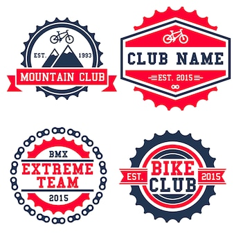 Insigne de logo de vélo de montagne isolé sur fond blanc