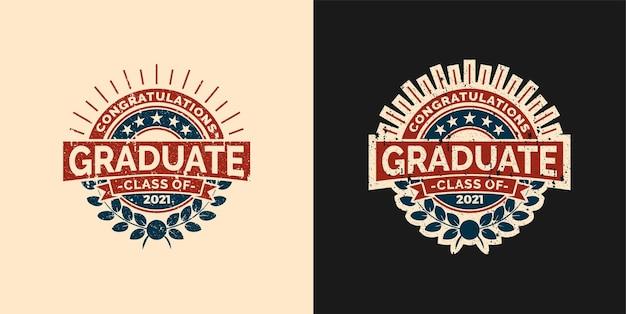 Insigne de logo vintage félicitations classe diplômée de l'ensemble d'emblèmes d'icônes