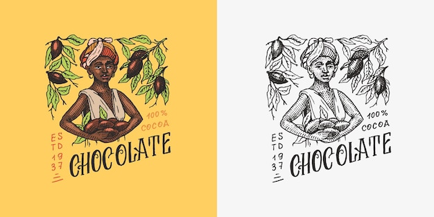 Insigne ou logo vintage de grains de chocolat de grains de cacao récoltés par femme pour la boutique de typographie