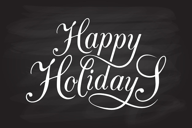 Insigne de logotype happy holidays dessiné à la main et typographie d'icône lettrage dessiné à la main de happy