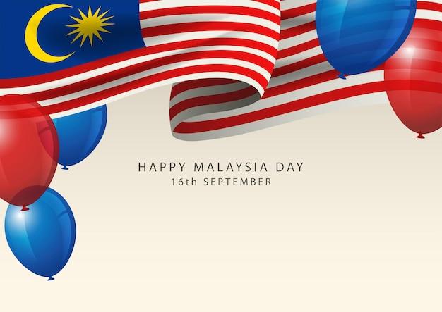 Insigne de la malaisie avec ballon décoratif, carte de voeux du jour de la malaisie