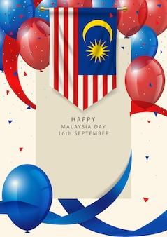 Insigne de la malaisie avec des ballons et des rubans décoratifs, carte de voeux de la fête de la malaisie