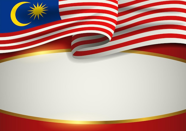 Insigne de malaisie avec cadre doré décoratif, format vectoriel eps 10