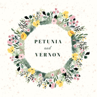 Insigne de mariage avec cadre aquarelle jardin floral