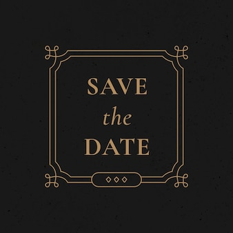 Insigne de mariage vector style ornemental vintage or faire gagner la date