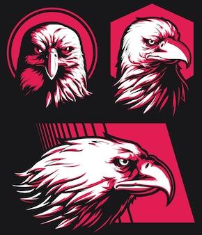 Insigne de mascotte isolé de logo de tête de faucon d'aigle de silhouette sur le style noir et blanc