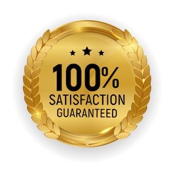 Insigne de médaille d'or de qualité premium.100 signe de satisfaction garantie isolé sur fond blanc.