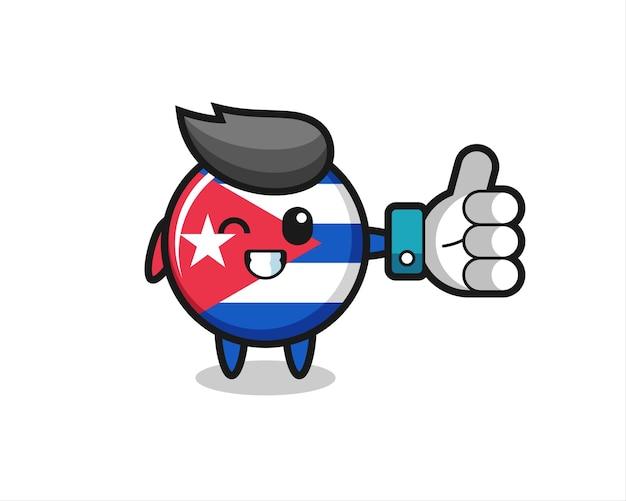 Insigne mignon de drapeau de cuba avec le symbole de pouce levé de médias sociaux, conception de style mignon pour t-shirt, autocollant, élément de logo