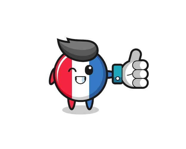 Insigne mignon de drapeau de la france avec le symbole du pouce levé des médias sociaux, design de style mignon pour t-shirt, autocollant, élément de logo