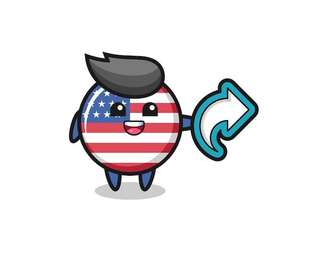 L'insigne mignon du drapeau des états-unis contient le symbole de partage des médias sociaux, un design de style mignon pour un t-shirt, un autocollant, un élément de logo