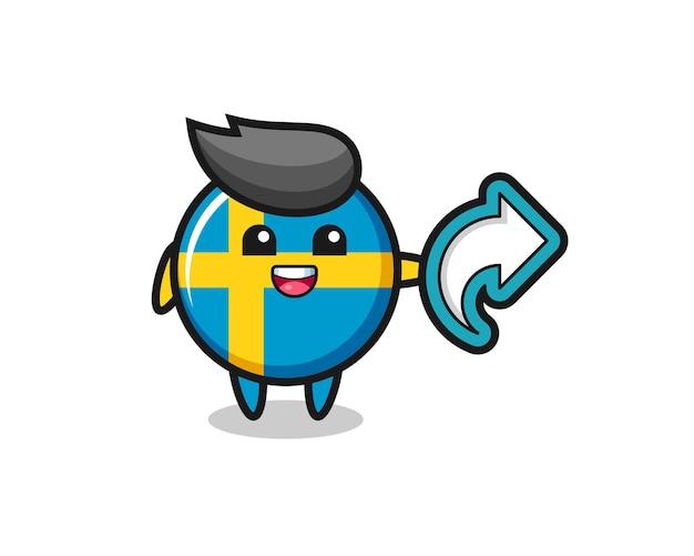 L'insigne mignon du drapeau suédois contient le symbole de partage des médias sociaux, un design de style mignon pour un t-shirt, un autocollant, un élément de logo