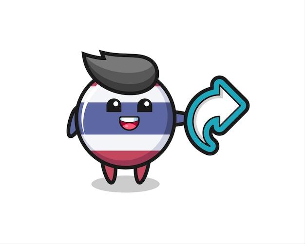 L'insigne mignon du drapeau de la thaïlande contient le symbole de partage des médias sociaux, un design de style mignon pour un t-shirt, un autocollant, un élément de logo