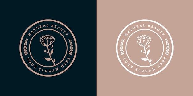 Insigne de modèle de logo floral royal de luxe féminin dessiné à la main adapté à l'hôtel restaurant café café spa salon de beauté boutique de luxe boutique de cosmétiques et de décoration