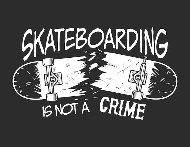 Insigne monochrome de skateboard vintage