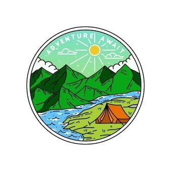 Insigne monoline de couleur camp adventure attendre