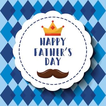 Insigne de moustache de couronne de fête des pères heureux