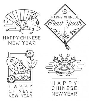 Insigne de nouvel an chinois en vecteur de style de ligne
