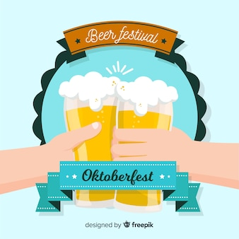 Insigne d'oktoberfest classique avec un design plat