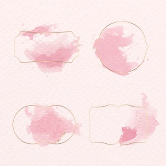 Insigne d'or avec jeu de peinture aquarelle rose