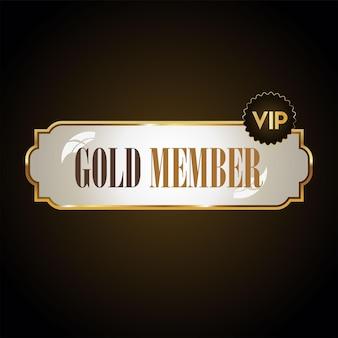 Insigne d'or vip design rétro membre doré