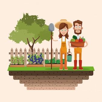 Insigne de pelle panier légumes fermier couple