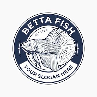 Insigne de poisson betta dessiné à la main