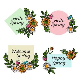 Insigne de printemps dessiné à la main avec tournesol
