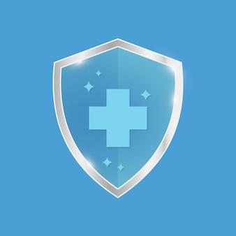 Insigne résistant aux antimicrobiens symbole de protection bouclier bleu avec garniture argentée