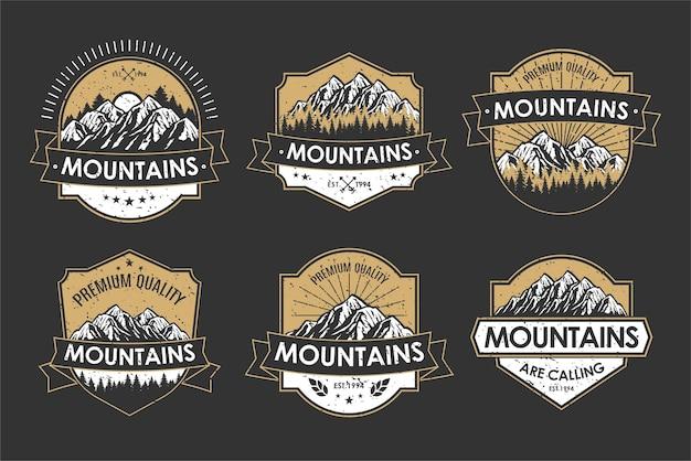 Insigne rétro de logo vintage défini aventure et étiquette d'icône de montagne en plein air
