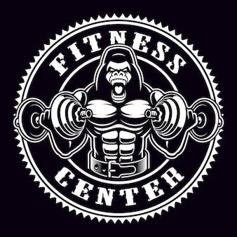 Insigne rond vintage d'un bodybuilder de gorille avec des haltères. emblème pour le thème de la gym. le texte est sur le groupe séparé.