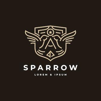 Insigne sparrow avec style au trait