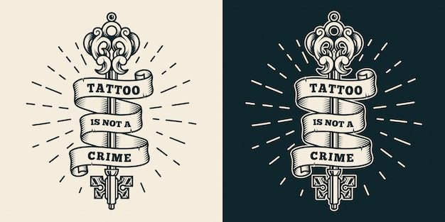 Insigne de studio de tatouage vintage