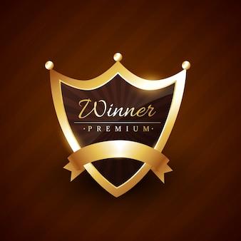 Insigne de style couronne avec illustration de texte gagnant