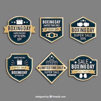 Insigne de vente vintage boxing day en bleu et or