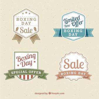 Insigne de vente vintage boxing day en couleurs claires