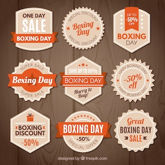 Insigne de vente vintage boxing day en orange