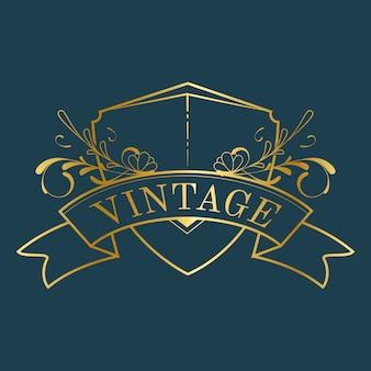 Insigne vintage art nouveau doré sur vecteur bleu