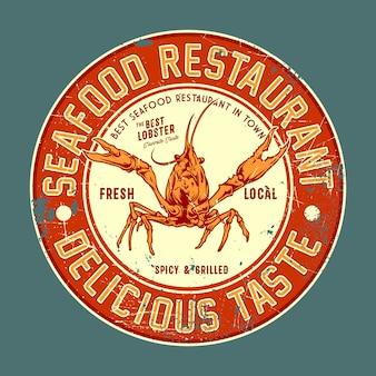 Insigne vintage de restaurant de fruits de mer