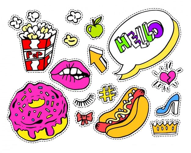 Insignes ou autocollants de bande dessinée de mode moderne doodle