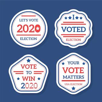 Insignes et autocollants de vote pour l'élection présidentielle des états-unis 2020