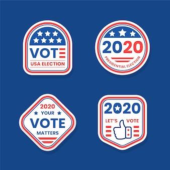 Insignes et autocollants de vote pour l'élection présidentielle des états-unis