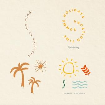 Insignes colorés de vacances d'été vector collection d'éléments de conception d'impression de t-shirt