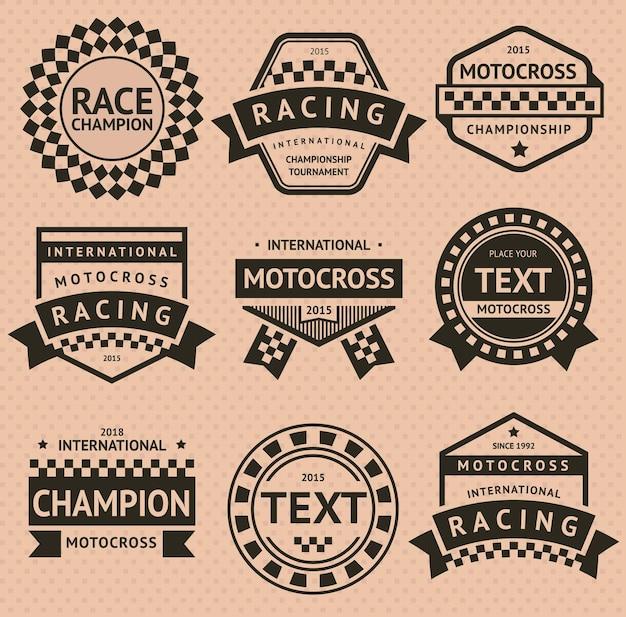 Insignes de course - style vintage, illustration vectorielle